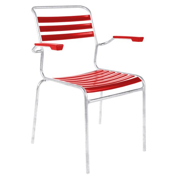 Details: Slatted chair Säntis with armrest