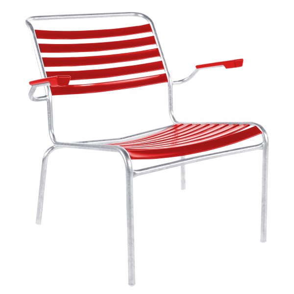 Details: Säntis slatted lounger with armrests