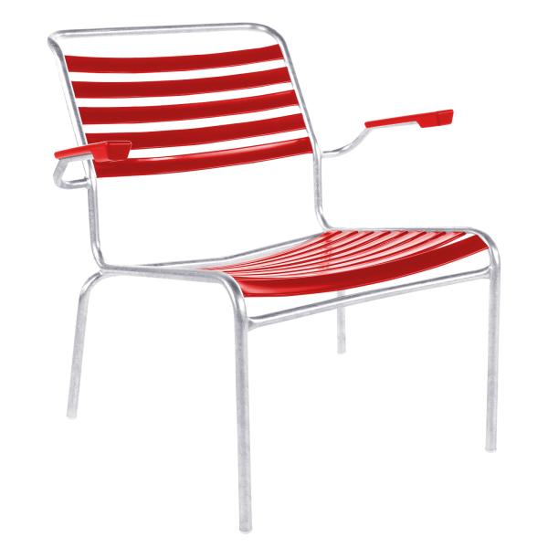 Details: Chaise lounge à lattes avec accoudoir