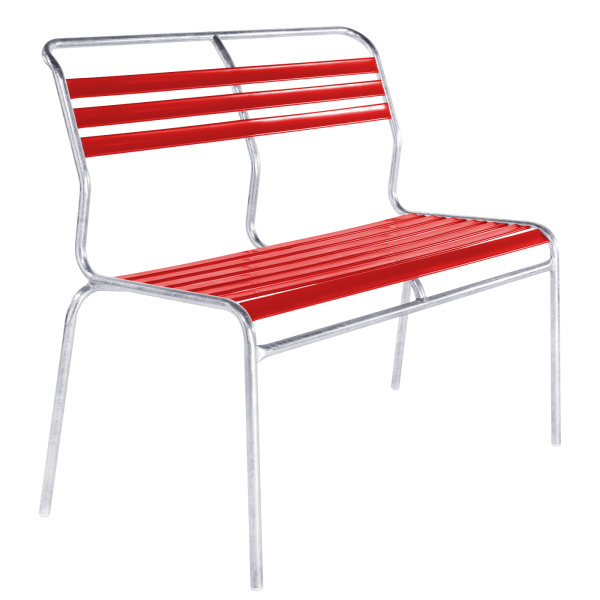 Details: Slatted two-seater bench Säntis without armrest