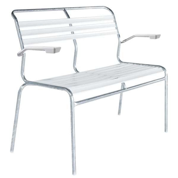 Details: Slatted two-seater bench Säntis with armrest
