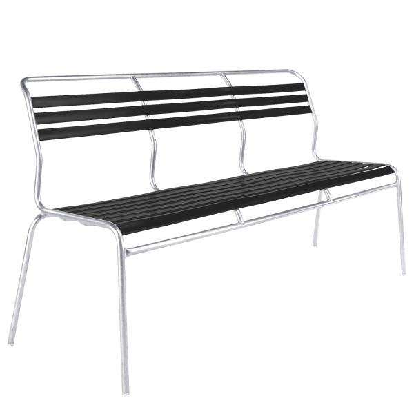 Details: Slatted three-seater bench Säntis without armrest