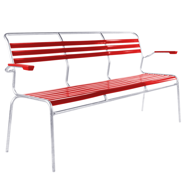 Details: Slatted three-seater bench Säntis with armrest