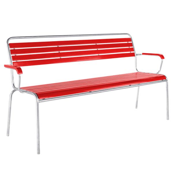 Details: Slatted bench Rigi with armrest